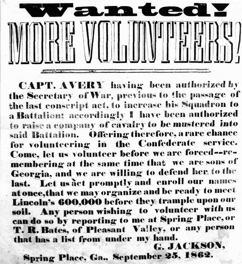 Recruiting Poster, Spring Place, 1862